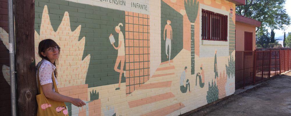 Marta y mural EOI 2